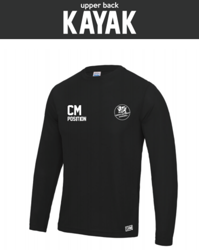 Cardiff Kayakers Black Mens Long Sleeved Performance Tee (All Print)