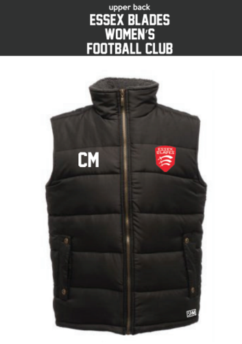 Essex Blades Womens Football Black Unisex Gilet (Logo Embroidery, Everything Else Print)