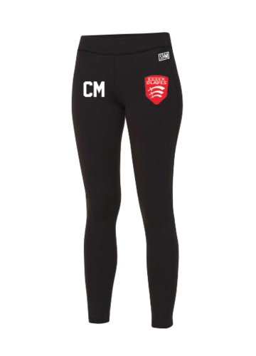Essex Blades Womens Football Black Unisex Leggings (Logo Embroidery, Everything Else Print)