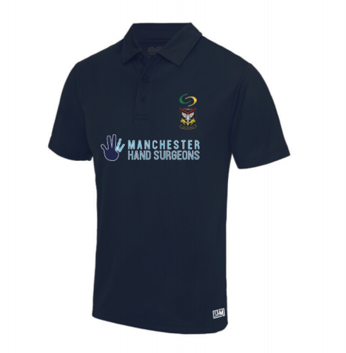 Mersey Cheadle Cricket Navy Womens Performance Polo (Logo Embroidery, Everything Else Print)