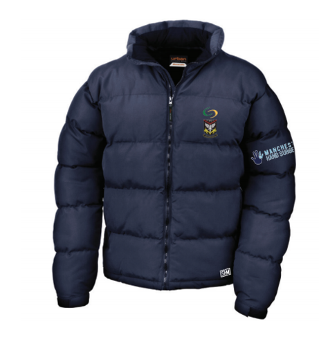 Mersey Cheadle Cricket Navy Unisex Puffa (Logo Embroidery, Everything Else Print)