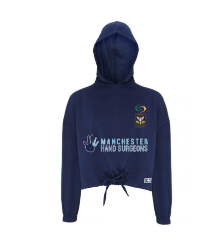 Mersey Cheadle Cricket Navy Cropped Hoodie (Logos Embroidery, Everything Else Print)