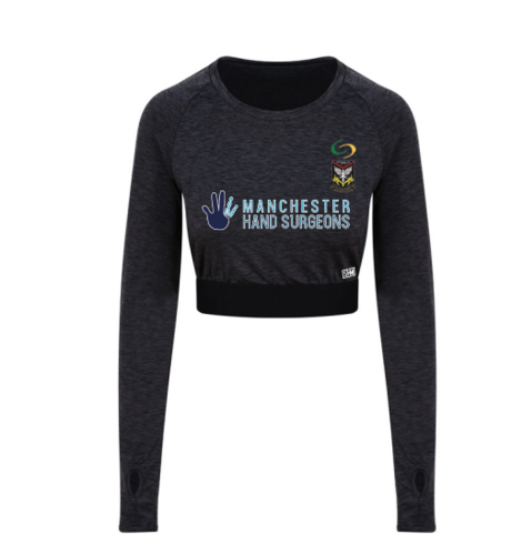 Mersey Cheadle Cricket Navy Long Sleeve Crop Top (All Print)