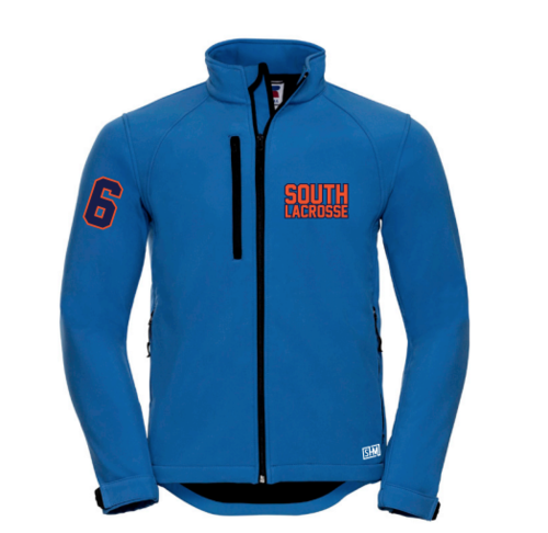 South Mens Lacrosse Blue Softshell (Logo Embroidery, Everything Else Print)