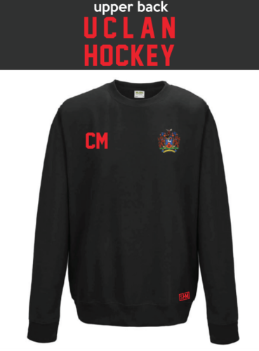 Uclan University Hockey Black Unisex Sweatshirt (Logo Embroidery, Everything Else Print)