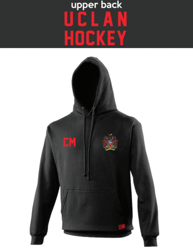 Uclan University Hockey Black Unisex Hoodie (Logo Embroidery, Everything Else Print)