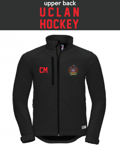 Uclan University Hockey Black Womens Softshell (Logo Embroidery, Everything Else Print)