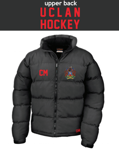 Uclan University Hockey Unisex Black Puffa (Logo Embroidery, Everything Else Print)