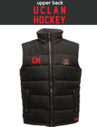 Uclan University Hockey Black Unisex Gilet (Logo Embroidery, Everything Else Print)