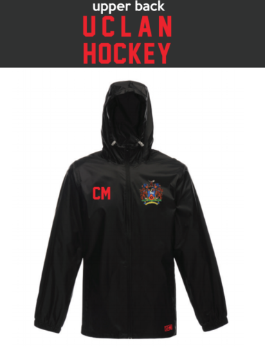 Uclan University Hockey Unisex Black Windbreaker (Logo Embroidery, Everything Else Print)