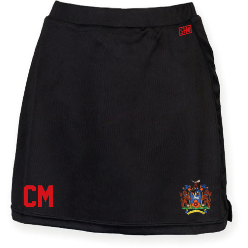 Uclan Hockey Black Womens Skort (Logo Embroidery, Everything Else Print)