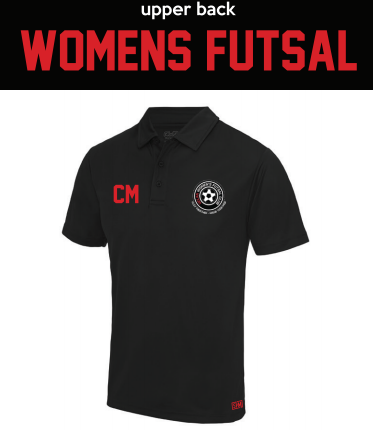 Uclan Futsal Black Womens Performance Polo (Logo Embroidery, Everything Else Print)