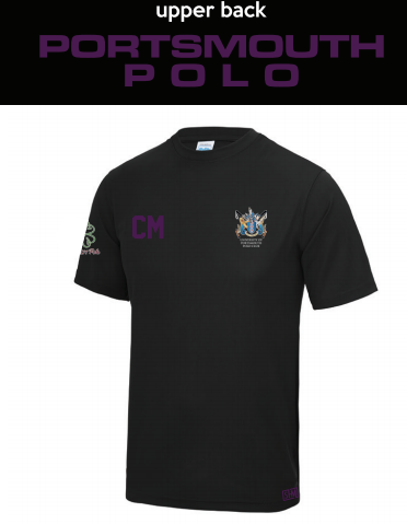 Portsmouth Polo Black Mens Performance Tee (All Print) (Purple Text)