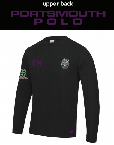 Portsmouth Polo Black Womens Long Sleeved Performance Tee (All Print) (Purple Text)
