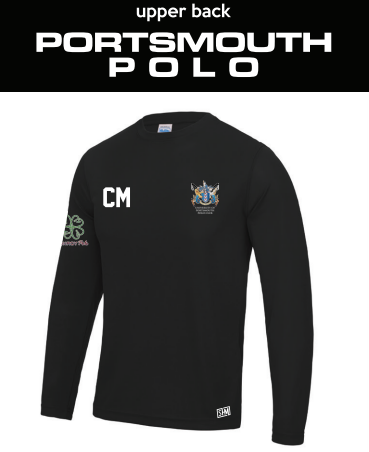 Portsmouth Polo Black Womens Long Sleeved Performance Tee (All Print) (White Text)