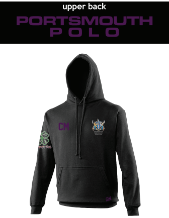 Portsmouth Polo Black Unisex Hoodie (Logo Emb, Everything Else Print) (Purple Text)