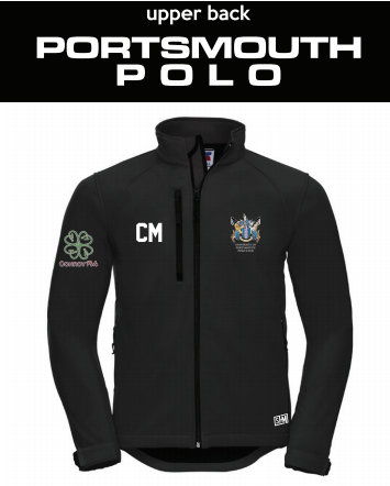 Portsmouth Polo Black Womens Softshell (Logo Embroidery, Everything Else Print) (White Text)