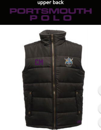 Portsmouth Polo Black Unisex Gilet (Logo Embroidery, Everything Else Print) (Purple Text)