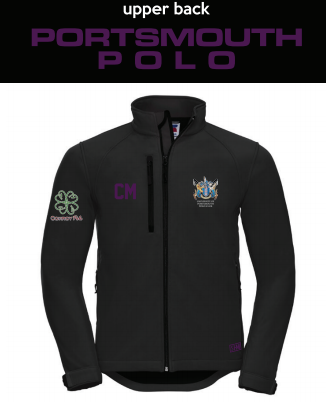 Portsmouth Polo Black Mens Softshell (Logo Embroidery, Everything Else Print) (Purple Text)
