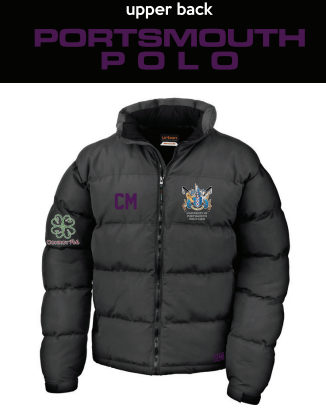 Portsmouth Polo Black Unisex Puffa (Logo Embroidery, Everything Else Print) (Purple Text)