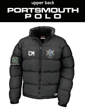 Portsmouth Polo Black Unisex Puffa (Logo Embroidery, Everything Else Print) (White Text)