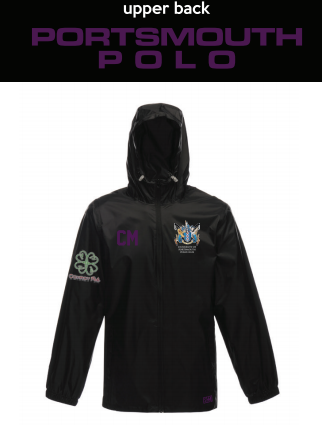 Portsmouth Polo Black Unisex Windbreaker (Logo Embroidery, Everything Else Print) (Purple Text)