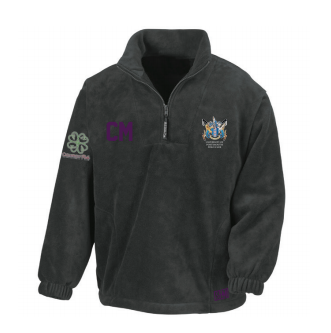 Portsmouth Polo Black Unisex Fleece (All Embroidery) (Purple Text)
