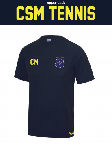 CSM Tennis Navy Mens Performance Tee (All Print)