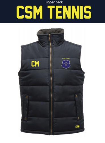 CSM Tennis Navy Unisex Gilet (Logo Embroidery, Everything Else Print)