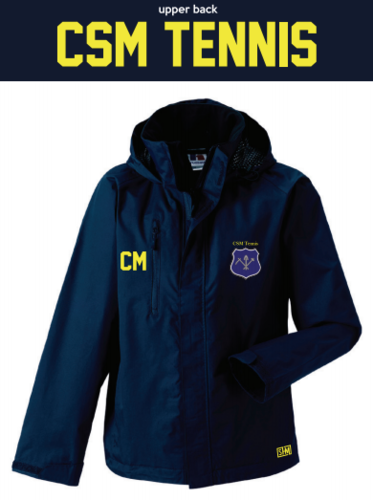 CSM Tennis Navy Mens Hydroplus Jacket (Logo Embroidery, Everything Else Print)