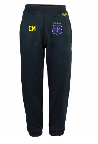 CSM Tennis Navy Womens Sweatpants (Logo Embroidery, Everything Else Print)
