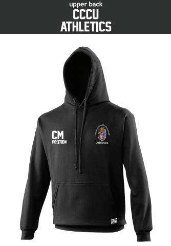 CCCU Athletics Black Unisex Hoodie (Logo Embroidery, Everything Else Print)