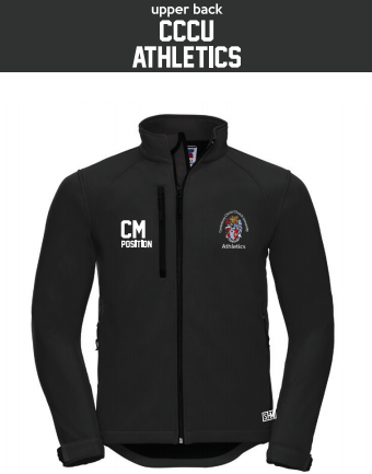 CCCU Athletics Black Mens Softshell (Logo Embroidery, Everything Else Print)