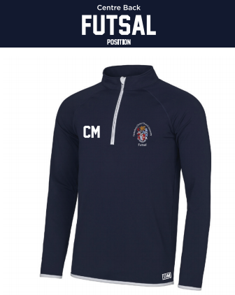 CCCU Womens Futsal Navy Performance Sweatshirt (Logo Embroidery, Everything Else Print)