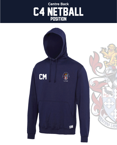CCCU Netball Navy Unisex Hoodie (Logo Embroidery, Everything Else Print)