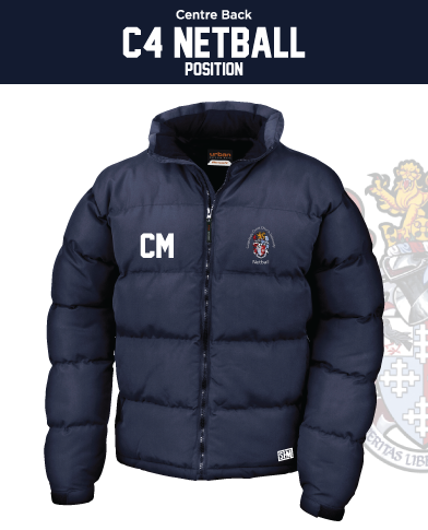 CCCU Netball Navy Unisex Puffa (Logo Embroidery, Everything Else Print)