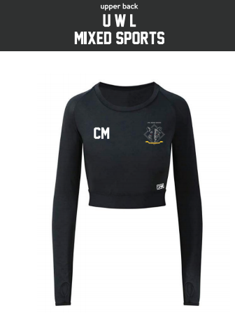 UWL Mixed Sports Black Womens Long Sleeved Crop Top (All Print)