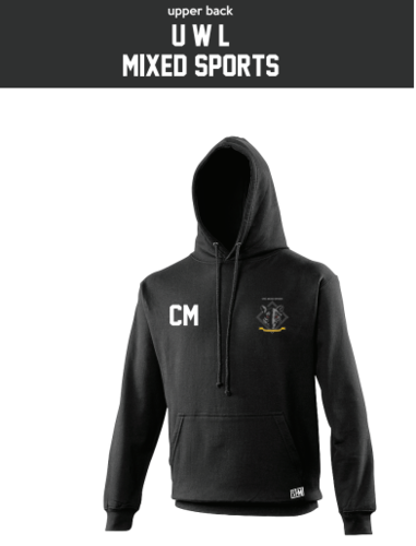 UWL Mixed Sports Black Unisex Hoodie (Logo Embroidery, Everything Else Print)