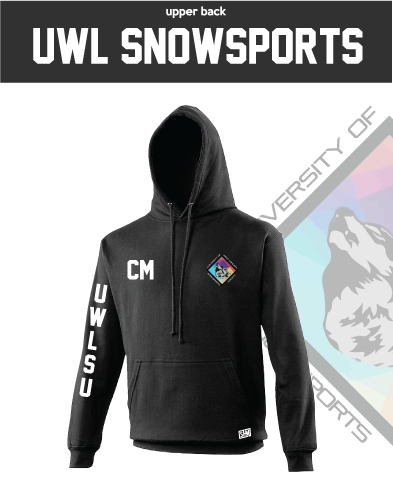 UWL Snow Sports Black Unisex Hoodie (Logo Embroidery, Everything Else Print)