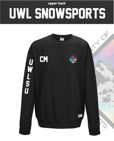 UWL Snow Sports Black Unisex Sweatshirt (Logo Embroidery, Everything Else Print)