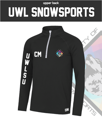 UWL Snow Sports Black Womens Performance Sweatshirt (Logo Embroidery, Everything Else Print)