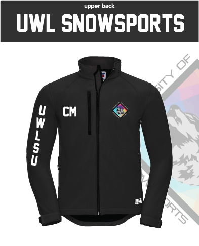 UWL Snow Sports Black Mens Softshell (Logo Embroidery, Everything Else Print)