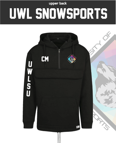 UWL Snow Sports Black Mens Pull Over (Logo Embroidery, Everything Else Print)