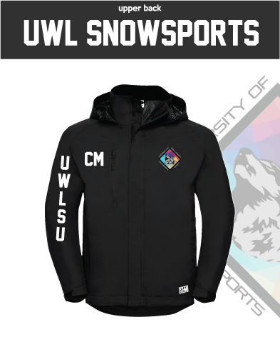 UWL Snow Sports Black Womens Hydroplus Jacket (Logo Embroidery, Everything Else Print)