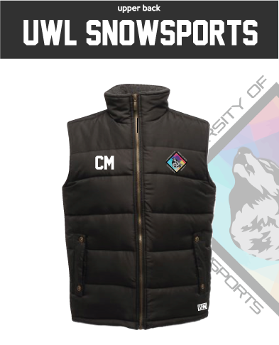 UWL Snow Sports Black Unisex Gilet (Logo Embroidery, Everything Else Print)