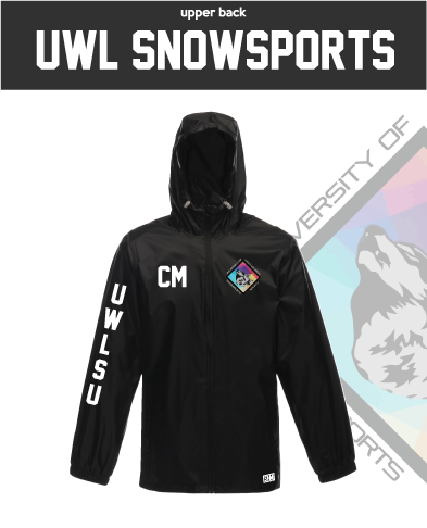 UWL Snow Sports Black Unisex Windbreaker (Logo Embroidery, Everything Else Print)