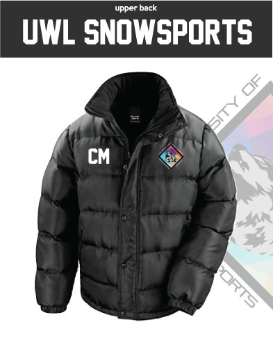 UWL Snow Sports Black Unisex Fleece Lined Puffa (Logo Embroidery, Everything Else Print)