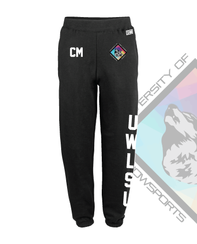 UWL Snow Sports Black Mens Sweatpants (Logo Embroidery, Everything Else Print)