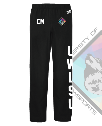 UWL Snow Sports Black Mens Trackies (Logo Embroidery, Everything Else Print)