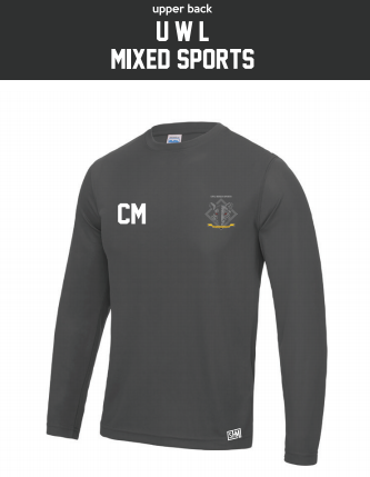 UWL Mixed Sports Charcoal Mens Long Sleeved Performance Tee (All Print)